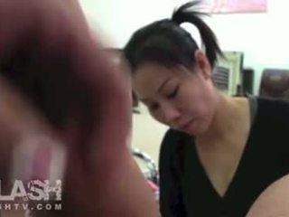 Real Cfnm Asian Pedicure Dickflash