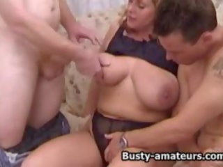 threesomes action, best big natural tits clip, threesome vid