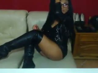 Sexy Babe in Leather Smoking on Cam, Free Porn 47