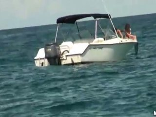 Two girls on a yacht spied on and banged