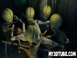 3D cartoon babe getting double teamed by Martians