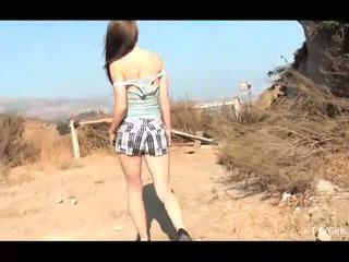 Sensi beautiful brunette with small tits naked outdoors masturbating and squirting in orgasm