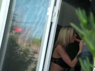 Blonde girl caught sucking her BFs cock