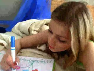 Naughty teen masturbates twat