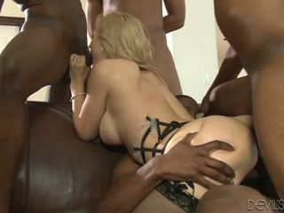 Sarah Vandella Gives Her Holes To Four Massive Black Cocks