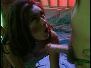 Kinky slut gets fucked by masked dudes and takes loads on tits and face
