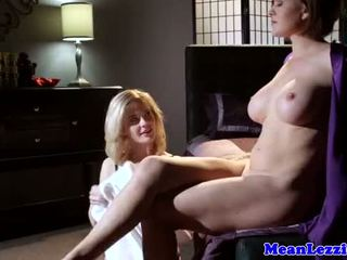 Busty lezdom toes licked before facesitting