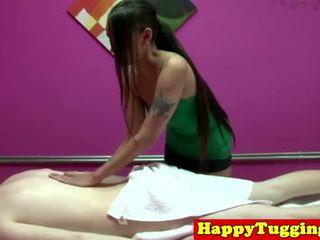 Real tattooed asian masseuse on spycam