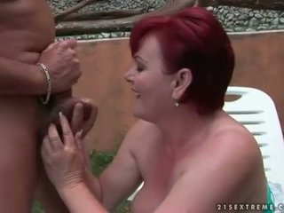 Fat redheaded granny getting fucked outdoor