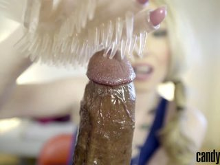 Candy May - Gives Handjob to BBC with a Latex Glove...