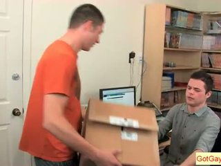 Horny guys sucking in the office