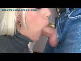 Platinum Blonde Blows Cock Swallows Cum