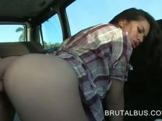 Sexy amateur and her first hardcore bus experience