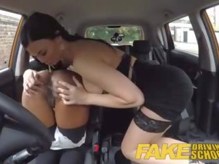 Fake Driving School Busty Black Girl Fails Her Test With Lesbian Examiner