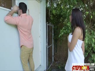 Peeping tom ends up kurang ajar her hot gf and her stepmom