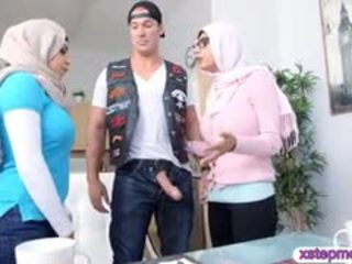 Two Busty Arab Ladies Share A Hard Cock On The Couch
