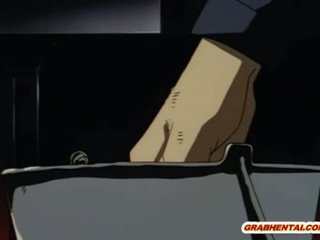 Roped anime coed gets ass injection