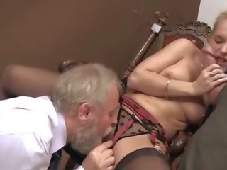 Sexy Blond Takes on Two Old Men, Free HD Porn ab