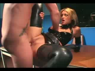 Pretty female cop in uniform and latex gloves deepthroating and fucking