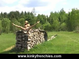 Outdoor naked fun dance in a country house