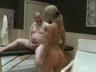 Two young girls fuck old garndpa in sauna