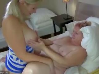 Oldnanny vecmāmiņa un pusaudze masturbate ar sextoy