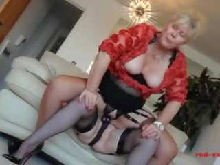 Red-XXX - Horny MILFS fuck each other with strap-ons and toys
