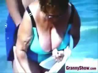 mooi voyeur actie, strand porno, plezier oma klem