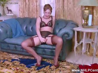 Dirty Blonde Masturbates in Vintage Brown Nylons...