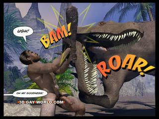Cretaceous 수탉 3d 명랑한 만화의 sci-fi 섹스 이야기