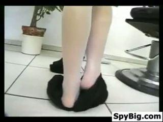 Cute Girl Does A Striptease At A Salon