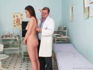 Smoking hot brunette babe bizarre gyno exam