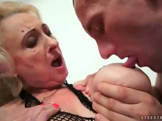 Busty fat grandma having sex with young man