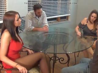 Pantyhose Footjob Threesome, Free Pantyhose Threesome HD Porn