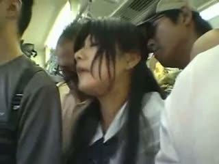 Shy Girl Gangbanged In A Public Train