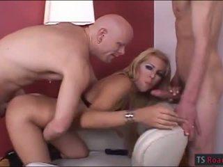 Pretty tranny Catherine A anal threesome