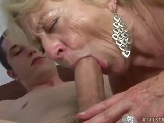 Fat granny knows how to please her young boy toy