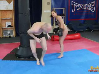 Angel Rivas beating loser through the gym in boxing gloves