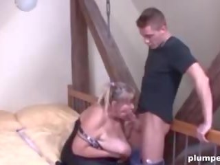Horny Old Cunt is so Happy to be Fucked by a Big Young
