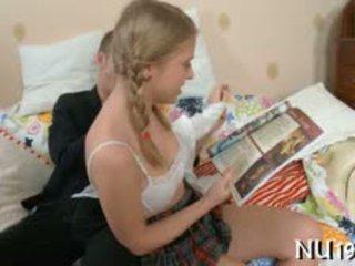 Legal Age Teenager Angel Kisses Lips Of Her Boyfriend