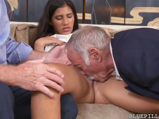 Hot Latina Enjoys Threesome with Grandpas: Free HD Porn 98