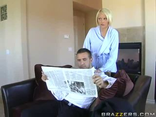 Angelic busty blonde wife cheating her husband doing blowjob and titsjob