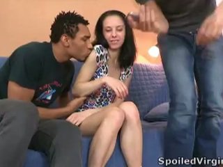 Brunette virgin teen stella doubleteamed by 2 guys