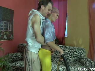 Skinny blonde housewife in pantyhose rides hard boner