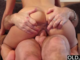 Hairy Grandpa Fucks Teen Blonde Blowjob and Doggystyle
