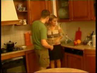 Guy fuck russian mature woman 45 yo at kitchen