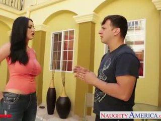 امرأة سمراء, مص, كبير الثدي