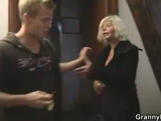 Old blonde rides her neighbor big cock
