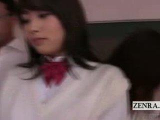 Subtitled الملبس أنثى العاري ذكر bottomless اليابان students مدرسة teasing