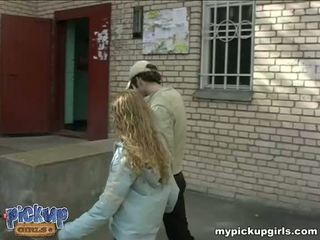 Young curly-headed sucks the cock in the nearest entrance Video
